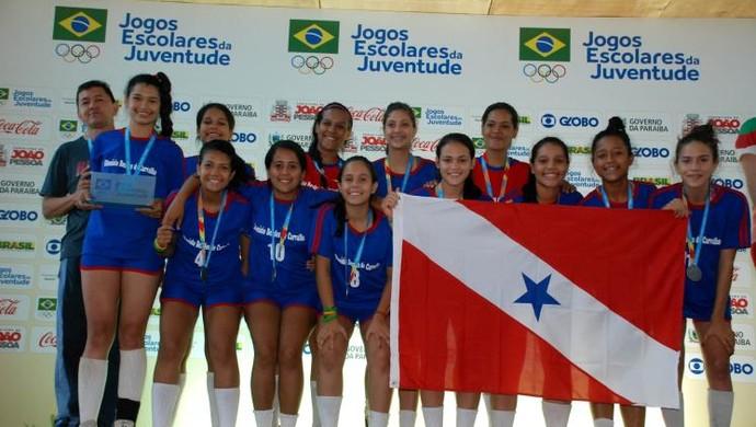 Handebol feminino de Rondon do Pará garantiu a prata na disputa com o estado de Santa Catarina (Foto: Agência Pará)