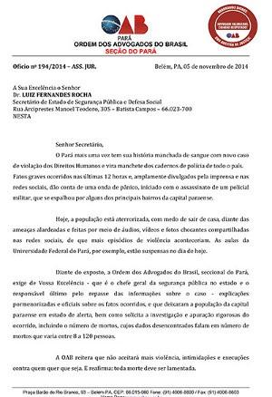OAB enviou ofício para a Secretaria de Segurança Pública do Pará (Foto: Divulgação/ OAB)