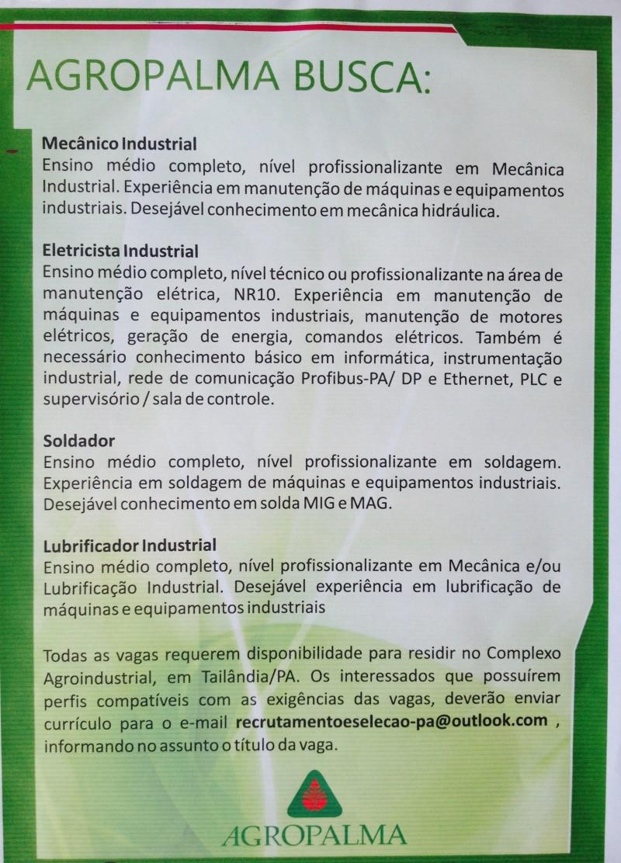 Cartaz divulgado pela Agropalma em busca de profissionais.