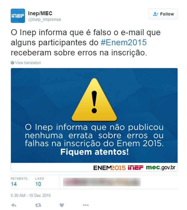 Inep divulga alerta sobre e-mail falso circulando sobre o Enem 2015 (Foto: Reprodução/Twitter)